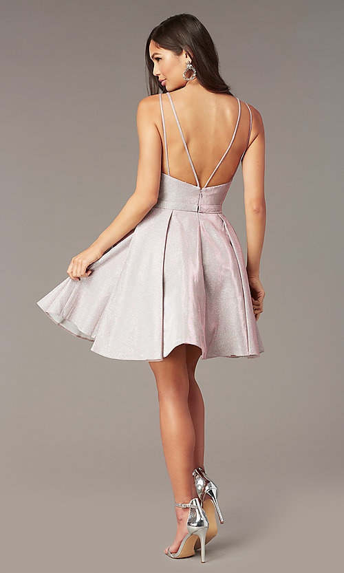 Image of boujee pink metallic hoco party dress by Alyce. Style: AL-A4187 Back Image