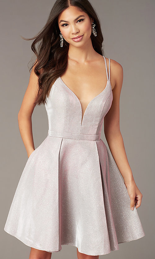 Image of boujee pink metallic hoco party dress by Alyce. Style: AL-A4187 Detail Image 1