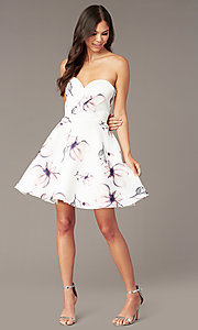 Image of short strapless floral-print hoco party dress. Style: AL-3894 Front Image