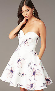 Image of short strapless floral-print hoco party dress. Style: AL-3894 Detail Image 1