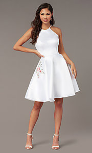 Image of short satin a-line homecoming dress by Alyce. Style: AL-3887 Detail Image 3