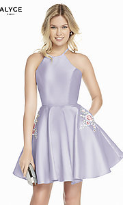 Image of short satin a-line homecoming dress by Alyce. Style: AL-3887 Detail Image 6