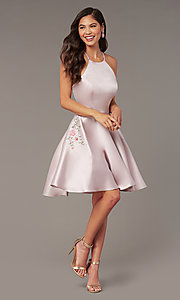 Image of short satin a-line homecoming dress by Alyce. Style: AL-3887 Front Image