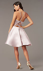 Image of short satin a-line homecoming dress by Alyce. Style: AL-3887 Back Image