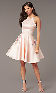 Image of short satin a-line homecoming dress by Alyce. Style: AL-3887 Detail Image 4