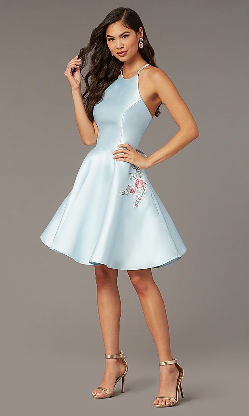 Image of short satin a-line homecoming dress by Alyce. Style: AL-3887 Detail Image 1