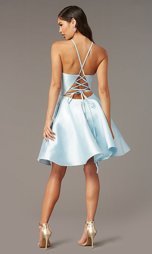 Image of short satin a-line homecoming dress by Alyce. Style: AL-3887 Detail Image 2