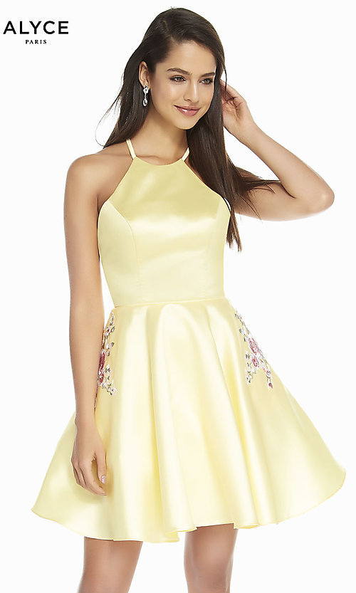 Image of short satin a-line homecoming dress by Alyce. Style: AL-3887 Detail Image 5