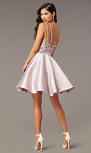 Image of short embroidered-bodice homecoming dress by Alyce. Style: AL-3886 Back Image