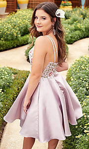 Image of short embroidered-bodice homecoming dress by Alyce. Style: AL-3886 Front Image