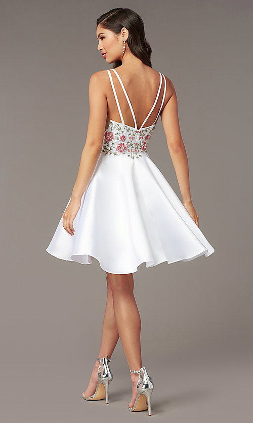 Image of short embroidered-bodice homecoming dress by Alyce. Style: AL-3886 Detail Image 6