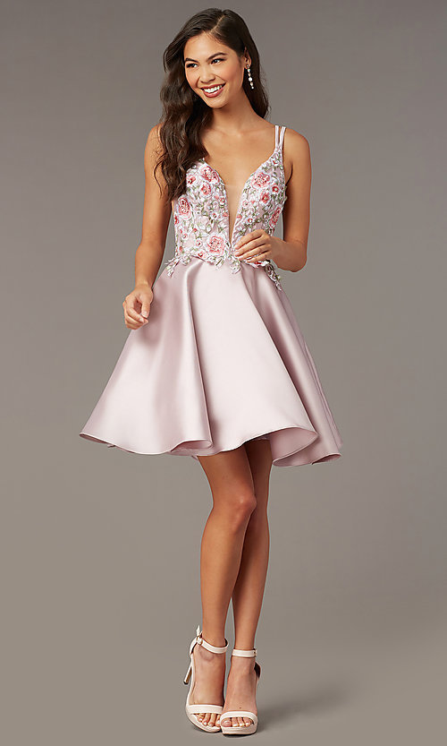 Image of short embroidered-bodice homecoming dress by Alyce. Style: AL-3886 Detail Image 1