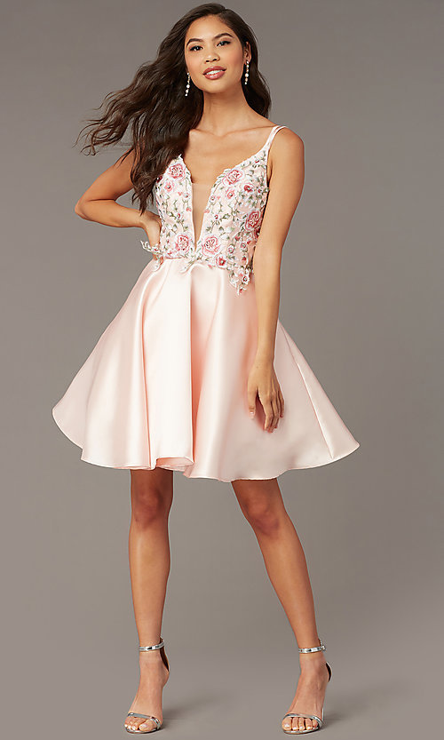Image of short embroidered-bodice homecoming dress by Alyce. Style: AL-3886 Detail Image 3