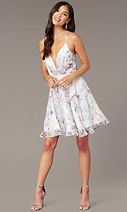 Image of open-back short floral-print hoco party dress Style: AL-3868-IB Front Image