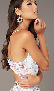 Image of open-back short floral-print hoco party dress Style: AL-3868-IB Detail Image 1