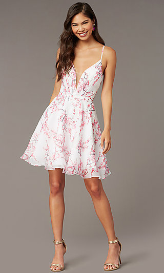 Blossom Pink Print White Hoco Party Dress by Alyce