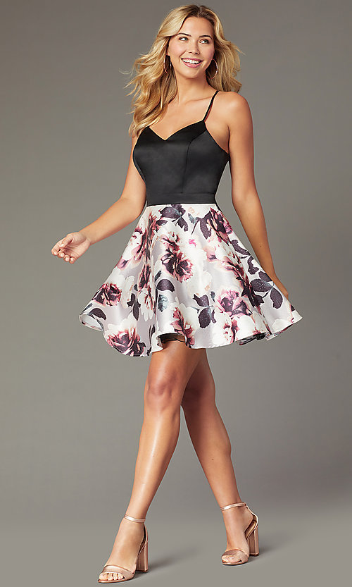 Image of short sweetheart homecoming party dress with pockets. Style: CT-5752QA8DT3 Front Image