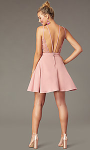 Image of open-back high-neck short party dress in soft pink. Style: CT-7711BS5BT3 Back Image