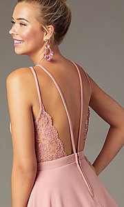 Image of open-back high-neck short party dress in soft pink. Style: CT-7711BS5BT3 Detail Image 2