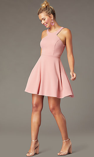 Open-Back High-Neck Short Party Dress in Soft Pink
