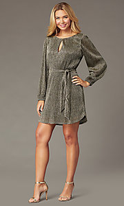 Image of holiday glitter-jersey long-sleeve short party dress. Style: CT-7368CF3AT3 Front Image