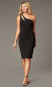 Image of knee-length one-shoulder holiday party black dress. Style: CT-1520BU6BT3 Front Image