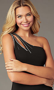 Image of knee-length one-shoulder holiday party black dress. Style: CT-1520BU6BT3 Detail Image 1