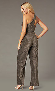 Image of glitter-knit holiday party one-shoulder jumpsuit. Style: CT-7877CK8AT3 Back Image