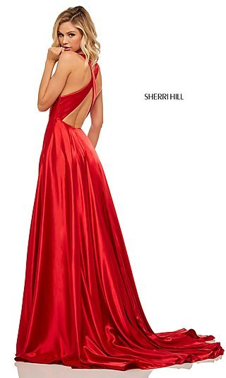 A-Line Satin Prom Dress with Criss-Cross Straps