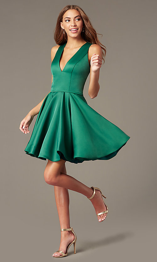 Image of emerald fit-and-flare green short homecoming dress. Style: TI-GL-1812P5140G Front Image