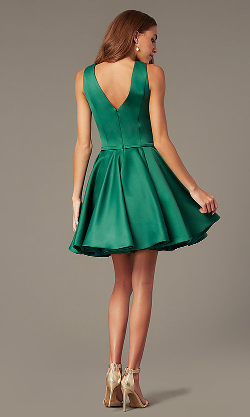 Image of emerald fit-and-flare green short homecoming dress. Style: TI-GL-1812P5140G Back Image