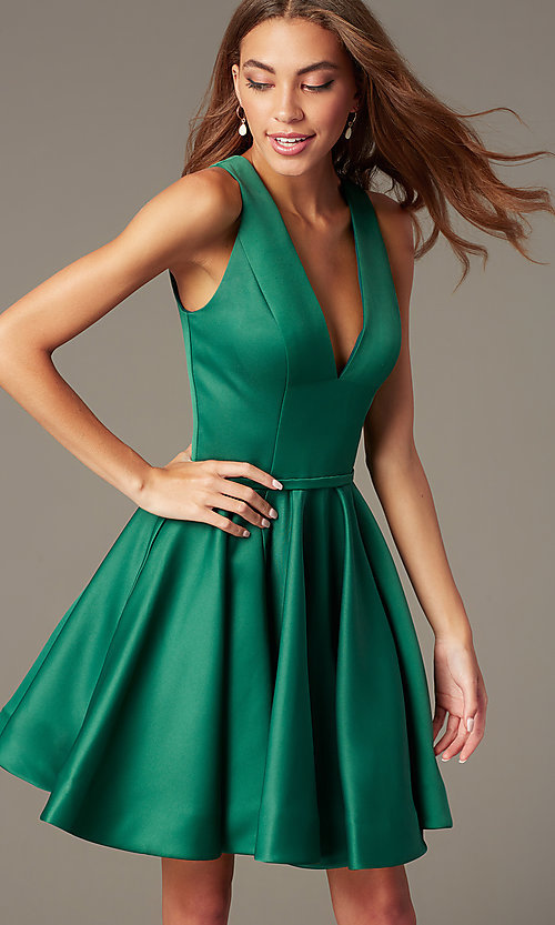 Image of emerald fit-and-flare green short homecoming dress. Style: TI-GL-1812P5140G Detail Image 1