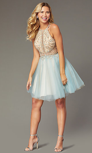 Short Tulle Embellished-Bodice Hoco Dress