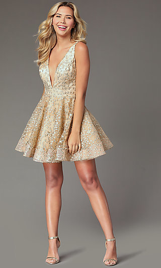 Embroidered-Tulle Short Gold Homecoming Dress
