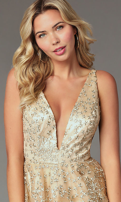 Image of embroidered-tulle short gold homecoming dress. Style: TI-GL-1925H0698 Detail Image 1
