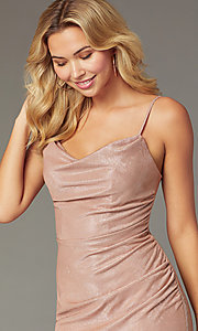 Image of cowl-neck rose gold short homecoming party dress. Style: FA-S10351 Detail Image 1