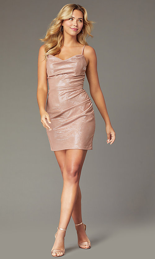 Image of cowl-neck rose gold short homecoming party dress. Style: FA-S10351 Front Image