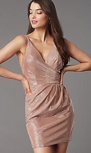 Image of short v-neck designer homecoming dress by Faviana. Style: FA-10352 Front Image