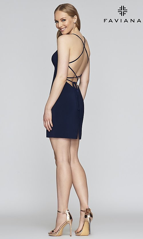 Image of short Faviana designer homecoming dress in jersey. Style: FA-S10356 Detail Image 6