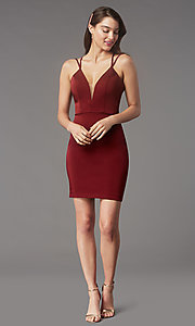 Image of fitted homecoming dress with lace-up back.  Style: FA-S10358 Detail Image 3
