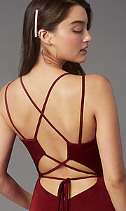 Image of fitted homecoming dress with lace-up back.  Style: FA-S10358 Detail Image 6