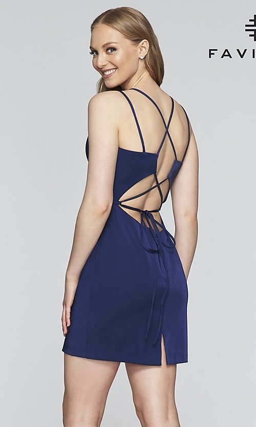 Image of fitted homecoming dress with lace-up back.  Style: FA-S10358 Back Image
