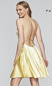 Image of short a-line open-back homecoming dress by Faviana.  Style: FA-S10361 Back Image