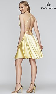 Image of short a-line open-back homecoming dress by Faviana.  Style: FA-S10361 Detail Image 3