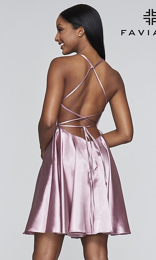 Image of short a-line open-back homecoming dress by Faviana.  Style: FA-S10361 Detail Image 7