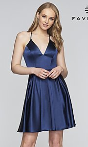 Image of short a-line Faviana designer homecoming dress. Style: FA-S10362 Detail Image 3