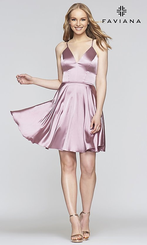 Image of short a-line Faviana designer homecoming dress. Style: FA-S10362 Detail Image 1