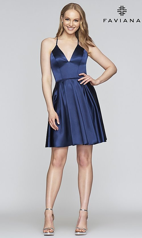 Image of short a-line Faviana designer homecoming dress. Style: FA-S10362 Detail Image 4