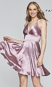 Image of open-v-back short homecoming dress by Faviana. Style: FA-S10363 Front Image