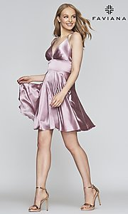 Image of open-v-back short homecoming dress by Faviana. Style: FA-S10363 Detail Image 1